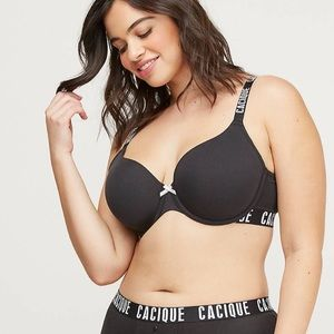 Cacique Logo Spell Out Boost Plunge Bra 42B
